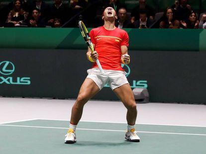 Rafa Nadal, tras ganar la semifinal de la Copa Davis frente a Gran Bretaña.