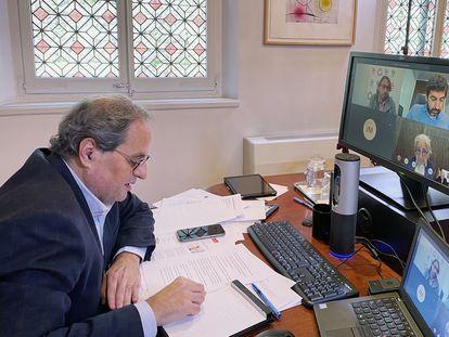El presidente de la Generalitat, Quim Torra, durante una videoconferencia.