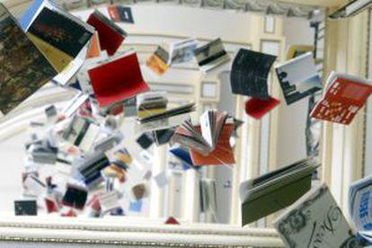 Montaje 'Biblioteca de Babel',de José Ignacio Díaz, en el Círculo de Bellas Artes.