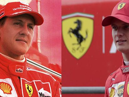 Michael Schumacher, en 2003; y Nick Schumacher, en Baréin este martes