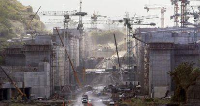 Vista de las obras del Canal de Panamá el 3 de enero
