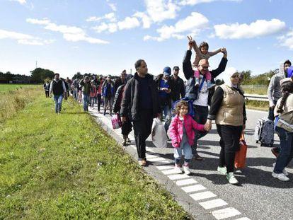 Refugiados Sirios se dirigen a pie a Dinamarca.