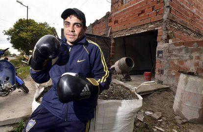 Raúl Alendre en Chivilcoy, que ha tenido que volver a boxear a los 37 años.