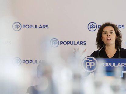 La vicepresidenta del Gobierno, Soraya Sáenz de Santamaría, este sábado en Barcelona.