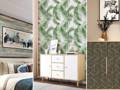 Escogemos una variedad de papeles pintados con acabados en madera, lisos y de diseños geométricos o florales para renovar las estancias de la casa.
