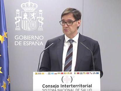 Salvador Illa, ministro de Sanidad, en rueda de prensa. En vídeo, fragmento de la comparecencia.