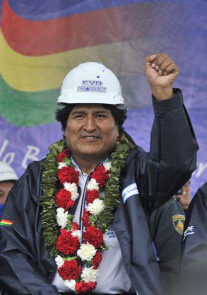 Evo Morales en la inauguración de una planta termoeléctrica en Yacuiba, el 27 de septiembre.