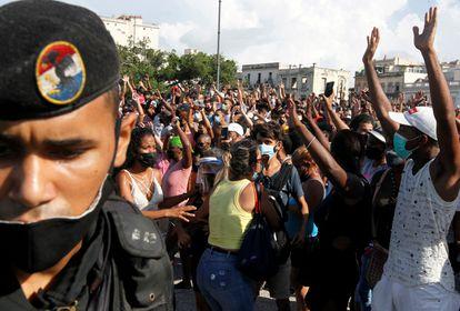 Protesta contra el Gobierno cubano en La Habana, el pasado 11 de julio.