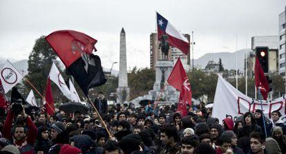 Protesta de estudiantes chilenos en Santiago.