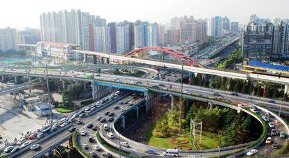 Vista de la ciudad de Shanghai, China.