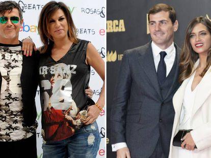 Alejandro Sanz y Raquel Perera (izquierda) Iker Casillas y Sara Carbonero (derecha).