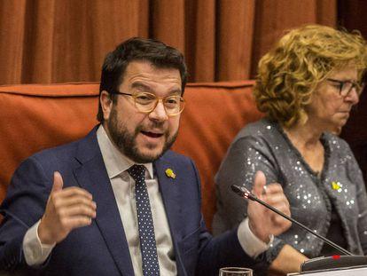 El vicepresidente de Economía, Pere Aragonès, en el Parlament.