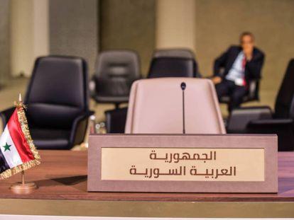 La mesa la delegación siria queda vacía durante la IV cumbre económica que celebró en enero la Liga Árabe en Beirut.
