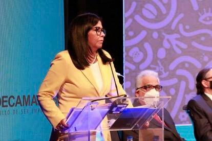 La vicepresidenta de Venezuela, Delcy Rodríguez, durante su intervención en la Asamblea Anual de Fedecámaras, el 20 de julio de 2021.