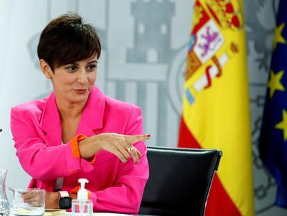 La ministra de Política Territorial y portavoz del Gobierno, Isabel Rodríguez, durante la rueda de prensa posterior a la reunión del Consejo de Ministros, este martes en La Moncloa.