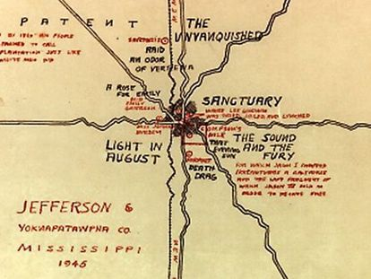 Mapa de Yoknapatawpha, imaginado por Faulkner.