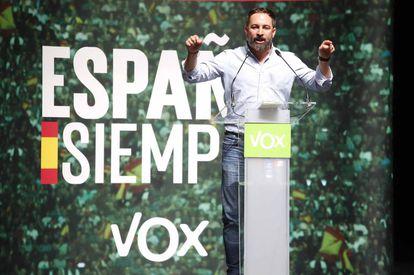 El líder de Vox, Santiago Abascal, en un mitin en Vigo, el pasado jueves.