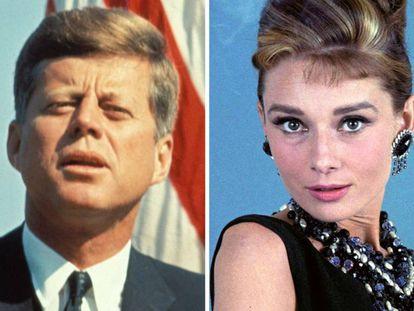 El presidente estadounidense John F. Kennedy y la actriz Audrey Hepburn.