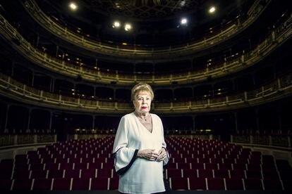 La actriz Gemma Cuervo, este martes en el teatro María Guerrero, en Madrid.