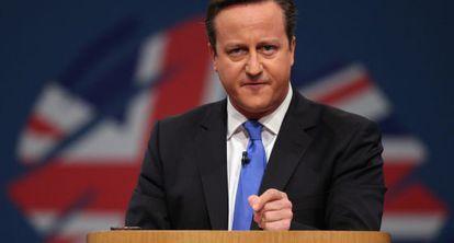 Cameron, hoy, en el congreso del Partido Conservador, en Manchester.