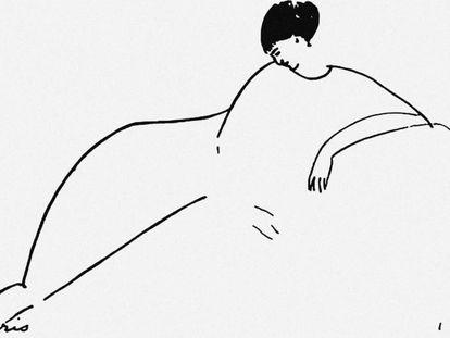 Dibujo de Modigliani de la poeta rusa Anna Ajmátova.