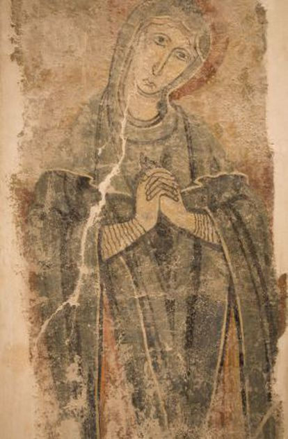 Pintura mural de Santa Eulàlia en Estaón, del siglo XII.