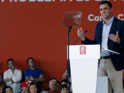 El secretario general del PSOE, Pedro Sánchez, durante su intervención en un acto este sábado.