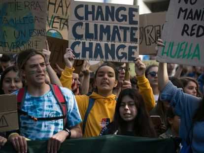 Protesta en contra del cambio climático, en marzo en Barcelona.