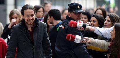 Pablo Iglesias llega al Congreso el pasado 4 de marzo.