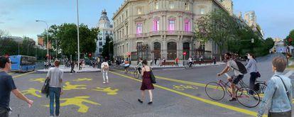 Propuesta de un grupo de arquitectos, activistas y asociaciones de ciclistas para la peatonalización de la capital durante las fases de la desescalada, con la que podria comenzarse a dibujar una red ciclista en Madrid. |