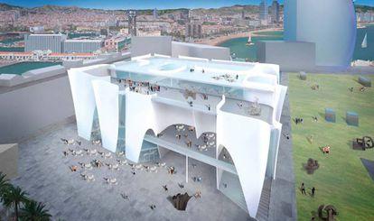 Vista posterior del proyecto de Ito para el Hermitage de Barcelona, con el litoral de Barcelona detrás.