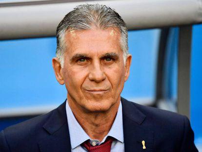 Carlos Queiroz, durante el partido de Irán contra Marruecos.