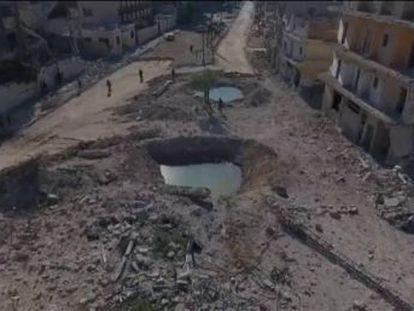 Las imágenes muestran un paisaje de desolación en esta ciudad siria que acumula cinco años de conflicto armado