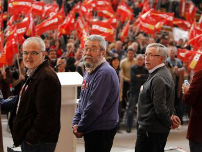 Reunión de delegados de UGT y CCOO en Valencia para preparar la huelga general que se celebró en 2012.