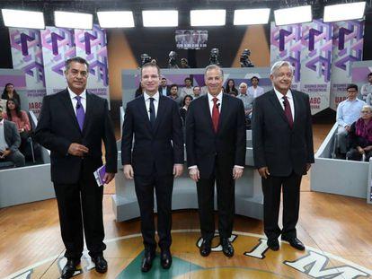 De izquierda a derecha, Jaime Rodríguez, Ricardo Anaya, José Antonio Meade y Andrés Manuel López Obrador.