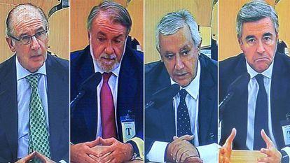 Rato, Mayor Oreja, Arenas y Acebes, en la sesión del 20 de junio.