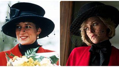 Diana de Gales y la actriz Kristen Stewart caracterizada como ella para la película 'Spencer'.