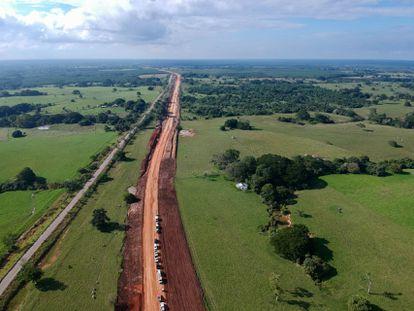Obras del tramo 1 del Tren Maya, entre Palenque y Escárcega, en diciembre.