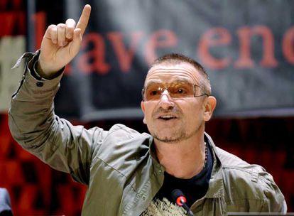 El cantante de U2, Bono, interviene en el debate de la Asamblea de Naciones Unidas, en Nueva York, en 2008.