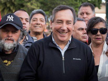 Luis Eladio Pérez en una marcha por los líderes sociales, el pasado 26 de julio.