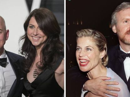 A la izquierda, Jeff y MacKenzie Bezos; derecha, Linda Hamilton y James Cameron.