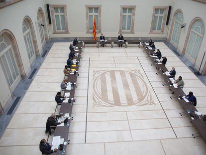 La anterior reunión de la mesa de partidos para abordar la organización de las elecciones del 14-F