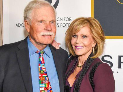 Ted Turner y Jane Fonda, durante el 80 cumpleaños de la actriz, en 2017.