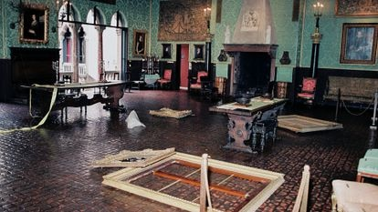 Photograph taken by the FBI of the crime scene after the robbery at the Isabella Stewart Gardner Museum in Boston.