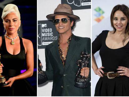 De izquierda a derecha: Lady Gaga, Bruno Mars y Chenoa.