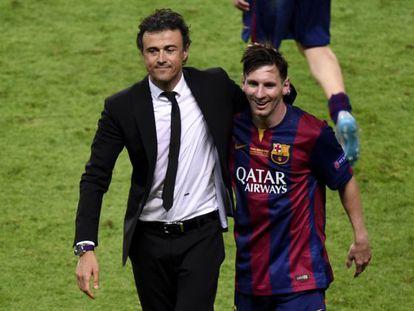Luis Enrique y Messi, tras la final de la Champions.