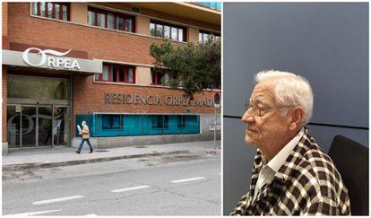 A la izquierda, una residencia Orpea, en Madrid (DAVID EXPÓSITO). A la derecha, Don Rafael, retratado por su familia.