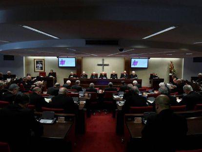 Vista general de la Asamblea Plenaria de la Conferencia Episcopal, el pasado lunes.
