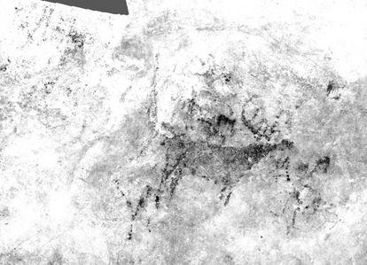 Imagen de síntesis que integra datos de fotogrametría y sensor multiespectral tomados del panel principal de la cueva de El Rejo (Val de San Vicente, Cantabria).