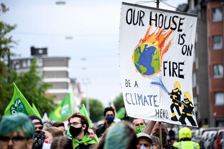 Manifestación contra la industria del carbón en Duesseldorf.